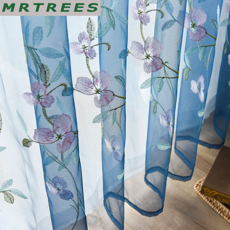 Floral Sheer Curtains For Living Room Bedroom Curtains For Kitchen Embroidered Voile Tulle Curtains Drapes To The Window