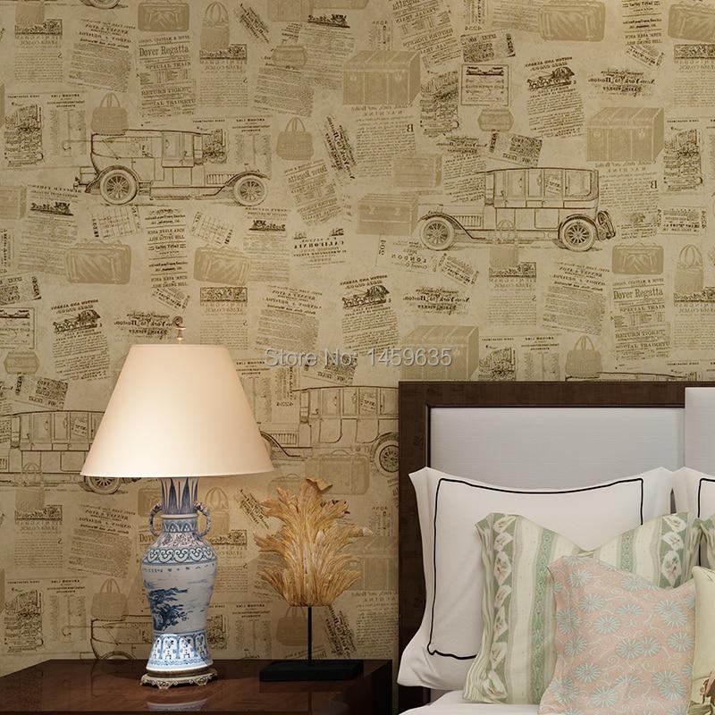Nostalgie américaine de vieux journaux papier peint alphabétique poster papier peint chambre salon café bar papel de parede