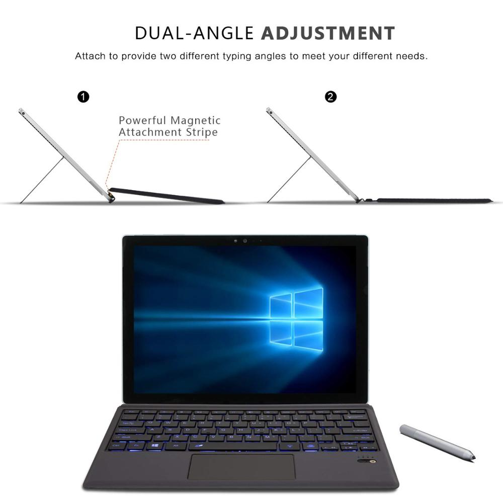 Teclado retroiluminado Bluetooth inalámbrico para Microsoft Surface Pro 6 2018 Pro 5 2017 Pro 4 Pro 3 teclado Bluetooth teclado de tableta - 3