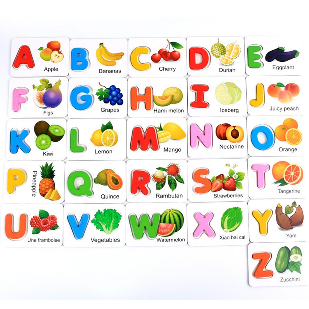LeadingStar Wooden Early Education Baby Learning Fruit Vegetable ABC Alphabet Letter Cards Cognitive Educational Toys For Kids