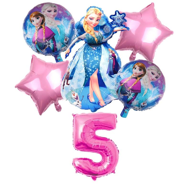 6pcs Birthday Elsa Anna Princess Balloons Birthday Party Decoration 30 Inch Number Balloons Set High Quality