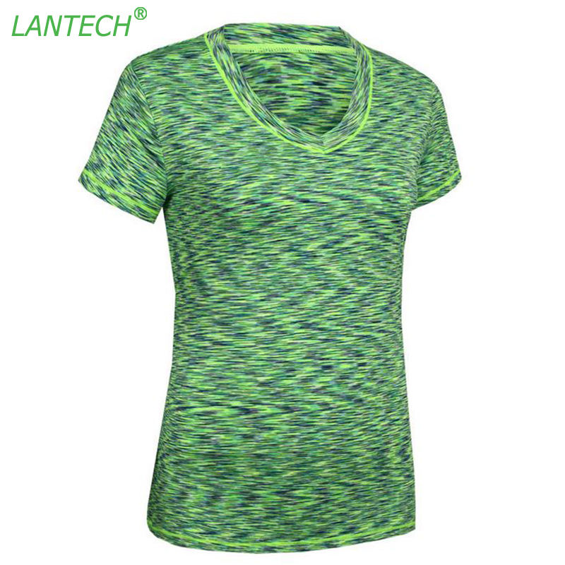 LANTECH Women Yoga Shirt Compression Tights Short Sleeve Fitness Elastic Running Shirt Clothes Exercise Training Gym Tees & Tops
