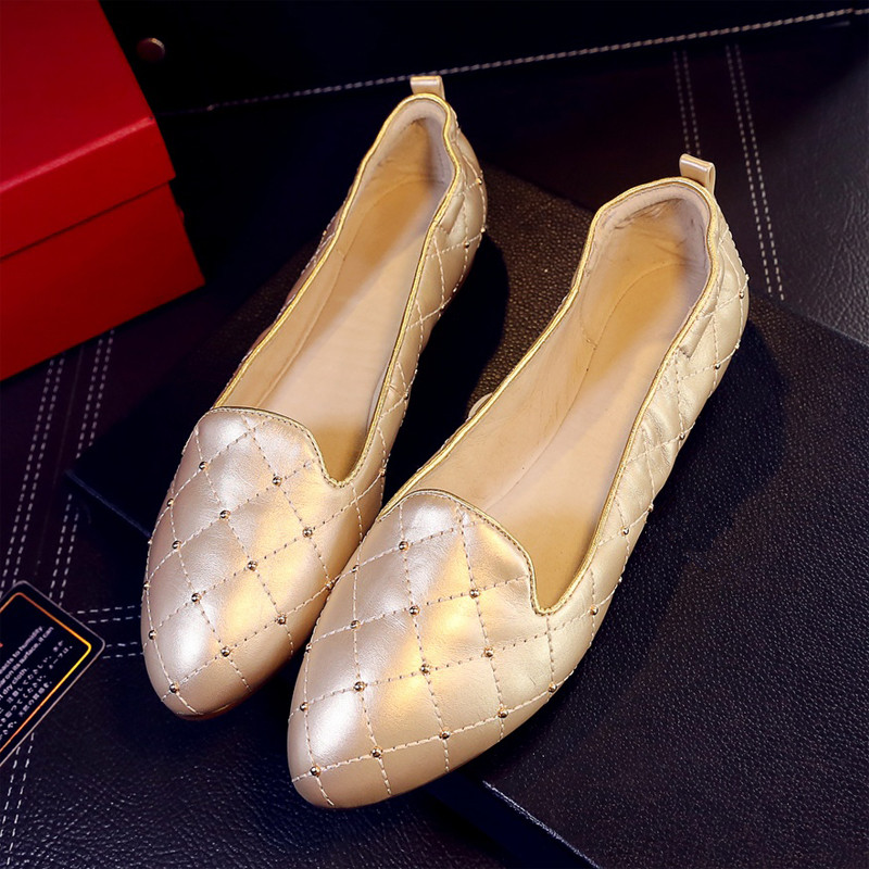 ФОТО US5-9 Vintage Soft Genuine Leather Comfort SLIP-ON Pointy Toe Pregnant Womens Skid Ballet Flats Shoes Driving Loafer