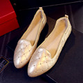 US5-9 Vintage Soft Genuine Leather Comfort SLIP-ON Pointy Toe Pregnant Womens Skid Ballet Flats Shoes Driving Loafer