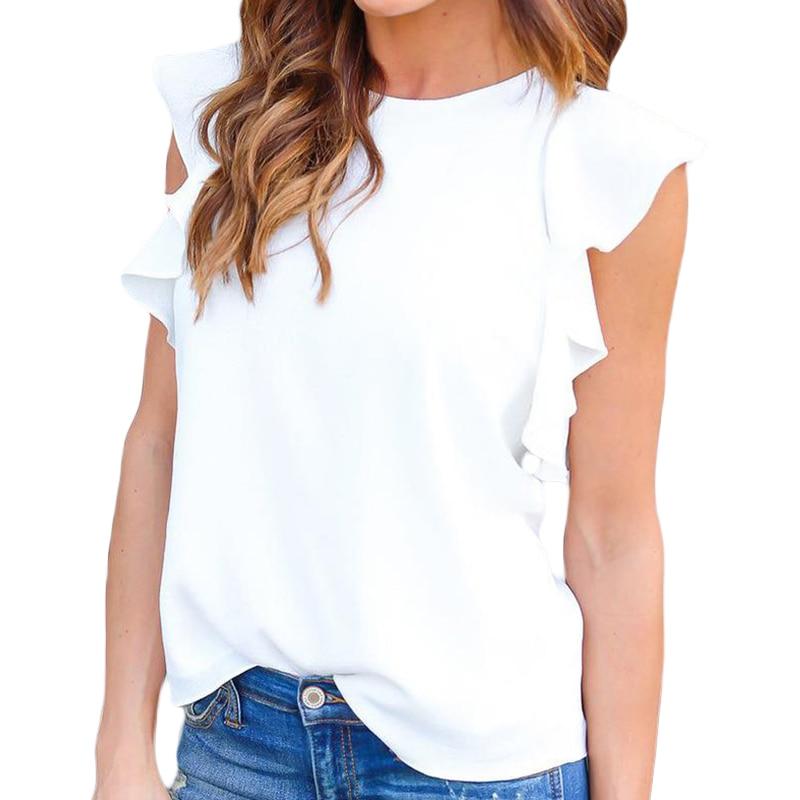 Summer Women Sexy Chiffon Blouses Shirts Ruffle Sleeves Women Sexy Blouse Tops Plus Size LJ9123E