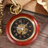 100% Natural Rose Wood Case Carved Letter Mechanical Pocket Watch Pendant With Chain Hand Fob Clock For Men Women Boyfriend Gift