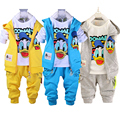 2017 Spring Autumn children boys girls clothing sets baby kids cartoon coat jacket T shirt pants Donald Duck clothes set
