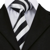SN-276 White Black Striped Silk Tie Set Handkerchief Cufflinks Sets Men's 100% Silk Ties for Men Formal Wedding Party Groom Tie 1
