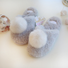 2016Autumn Winter Women Home Slippers Real Rabbit Hair Plush Fashion Shoes indoor Warm Cotton Slipper  Free Shipping
