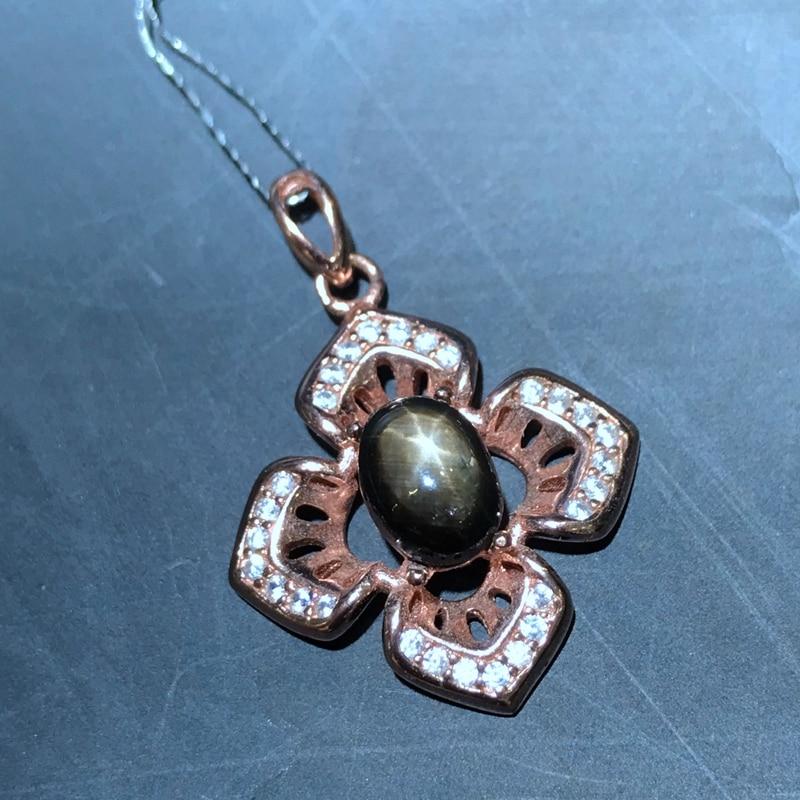 Uloveido Starlight Sapphire Stone Pendant Necklace Women 925 Sterling Silver Gemstone Fine Necklace Pendant for Girl
