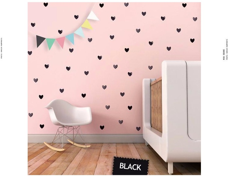 Baby Nursery Home Deco Heart wall pattern vinyl decal stickers Peel and stick Decals - Nursery Wall Decals