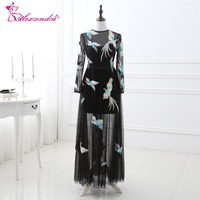 Alexzendra Stock Dress Black Tulle Prom Dresses with Long Sleeves Unique Design Partten Party Dresses Evening Dress