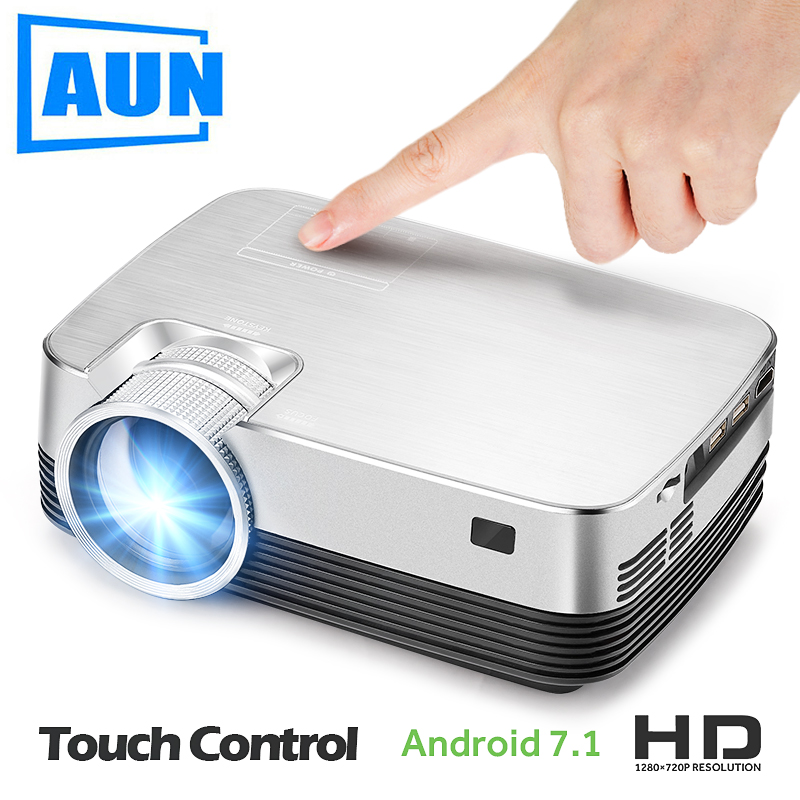 AUN Android Projector Q6. Set in WIFI, Bluetooth. 1280x720 Pixel, HD Mini Projector, Video Beamer. Support 1080P, USB, HD output(China)