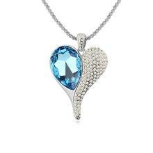 Новый Кулон Ожерелья женщин Австрия кристалл свитер цепи-Сердце свет сказка (PM)