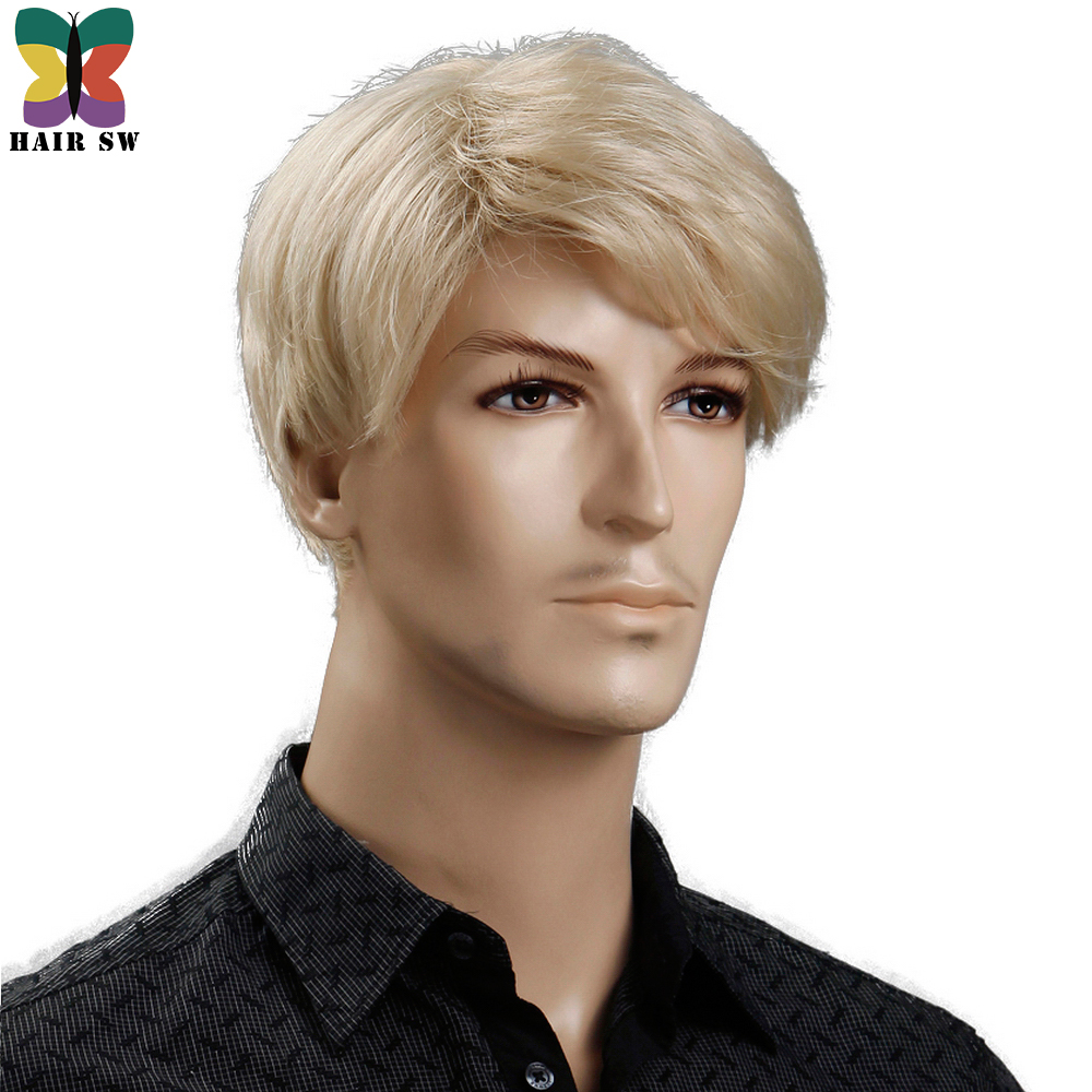 HAIR SW Synthetic 6inch Short Blonde Wig Natural Hair Men Straight hairStyles Heat Resistant Fiber