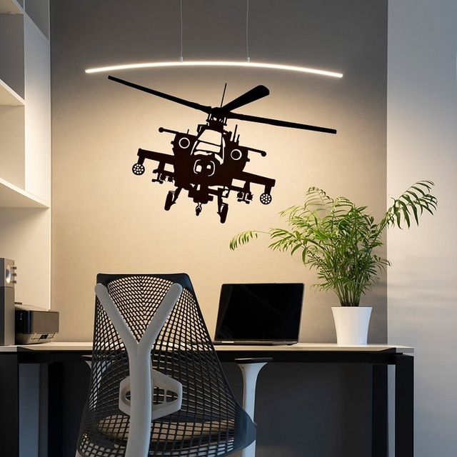 Helicopter Wall Sticker Art Copter Vinyl Decal Aircraft Pilot Decor Military  Boy Army Mural Flying Fighter Stickers 2FJ17