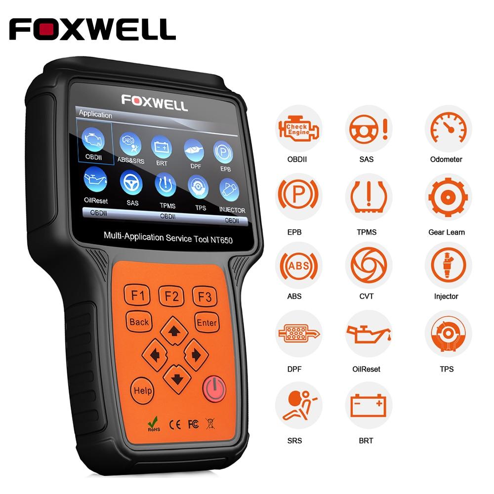 FOXWELL NT650 OBD2 Voiture Diagnostic Automobile Scanner Moteur ABS SRS EPB Service Huile Réinitialiser Injecteur Codage ODB2 Outil De Diagnostic
