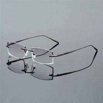 SPH -10 to +3.5 Gradient Prescription Glasses Men Upscale Pure Titanium Rimless Optics Spectacles For Myopia or Presbyopic WP011