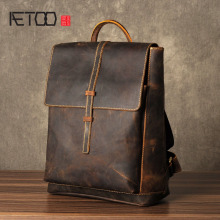 лучшая цена AETOO The first layer of Leather Shoulder Bag Mens Leather Backpack retro fashion leisure bag simple Crazy Horse
