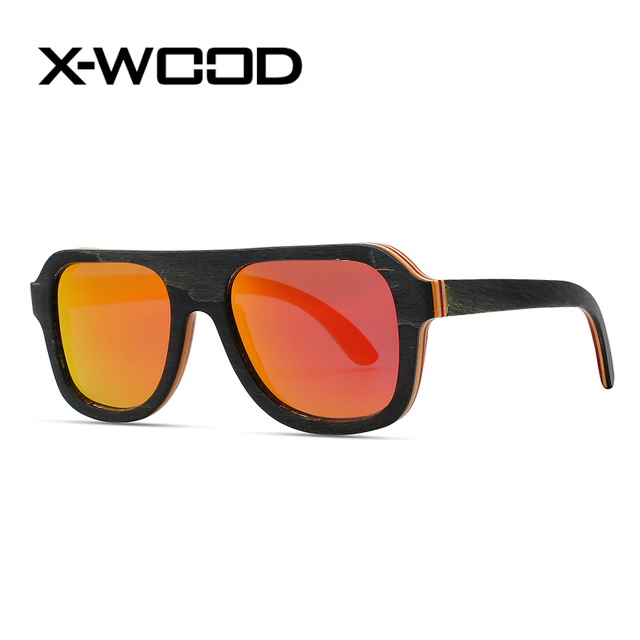 66d48f9973a X-WOOD Fashion Black Red Flat Top Mix Color Polarized Sunglasses Men Women  Gold Mirror Square Wooden Goggle Sunglass