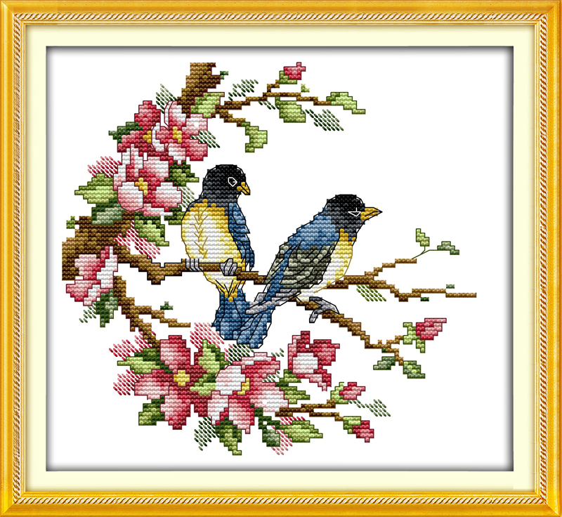 Magpies Cross Stitch Kits Pattern Printed Fabric Birds And Flowers
