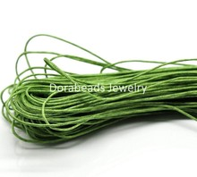 DoreenBeads 80M(3149-5/8″) Green Waxed Cotton Cord 1mm for Bracelet/ Necklace (B19330), yiwu