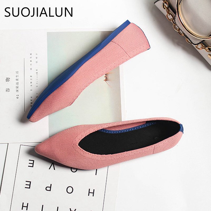 SUOJIALUN 2019 Spring Women Slip On Flat Loafers Pointed Toe Shallow Ballet Flats Shoes Casual Flat Shoes Ballerina Flats Zapa in Women 39 s Flats from Shoes