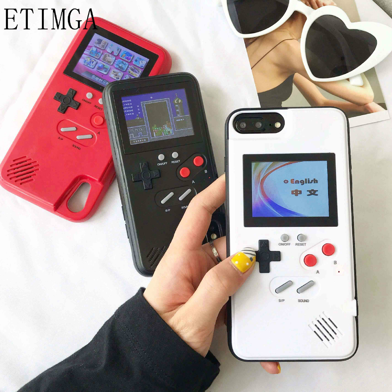 Full color display Xs Max GameBoy phone case for iphone Xs Max Xr X Retro Tetris Game back cover for iphone 8 7 6 6s plus Coques