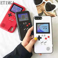 La pantalla a color Xs Max GameBoy caja del teléfono para iphone Xs Max Xr X Retro Tetris juego funda para iphone 8 7 6 6s plus Las cocas