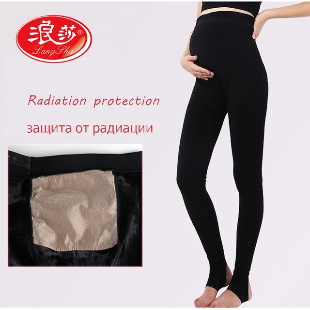 Langsha Pregnant Women Radiation Protection Leggings Waist Adjustable Women Leggings High Waist Super Warm Thicken Winter Girls