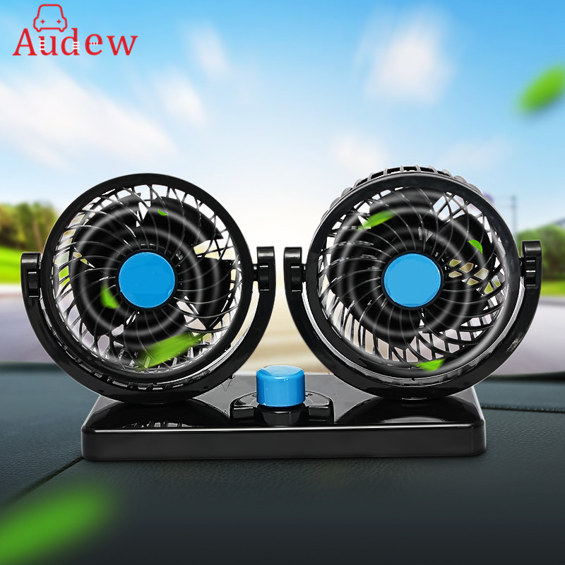 Car Mini Electric Fan 2 Head 360 Degree Rotating Low Noise Summer Conditioner Portable Adjustable Car Fan Air Cooling 12V Black