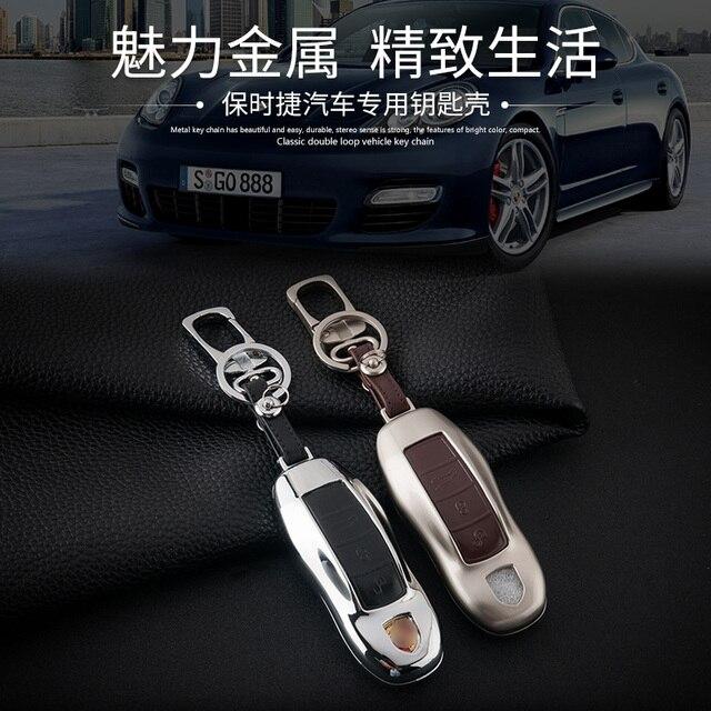 Случай Ключ кожа Автомобилей Брелок Крышка Подходит Для Porsche Cayenne panamera macan 911 Boxster Cayman Дистанционного Сплава Кольца для Ключей цепи Держатель мешок