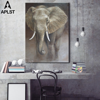 Unframed Wall Art African Elephant Oil Painting Animals Canvas Art Large Wall Mural Picture Painting for the Wall
