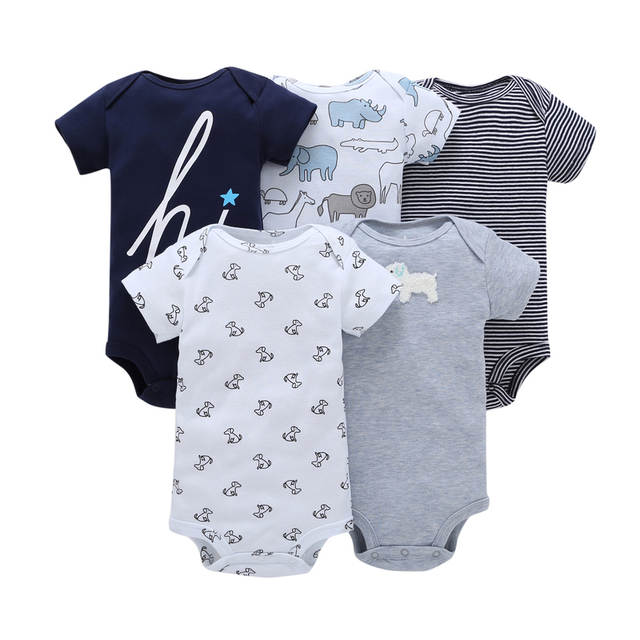1584d57475ff 5pcs unisex newborn set cotton letter print short sleeves rompers 0-24m  infant baby boy clothes 2019 summer baby girls outfits