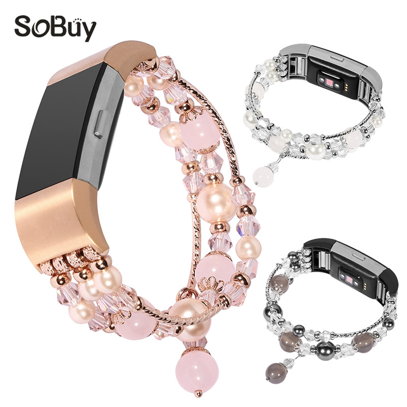 Lxsmart for Fitbit Charge 2 metal strap women's jewelry bracelet charge2 watch bands Agate gemstone wrist strap fitbit band