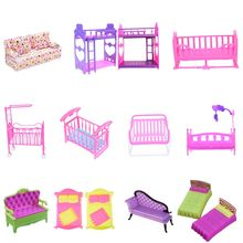 Fashion Plastic Bed sofa Bedroom Furniture For Dolls Dollhouse Girl Birthday Gift Double Bed Cradle Pillow Accessories(China)