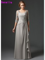 Silver Long A line Chiffon Mother's Formal Wear Pleated Mother Of The Bride Dresses Ruffled Beaded Lace Wedding Party Gowns