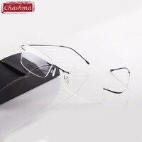2014 Hot Selling Brand Titanium Rimless Ultra Light Glasses Frame Reading Glasses With Case