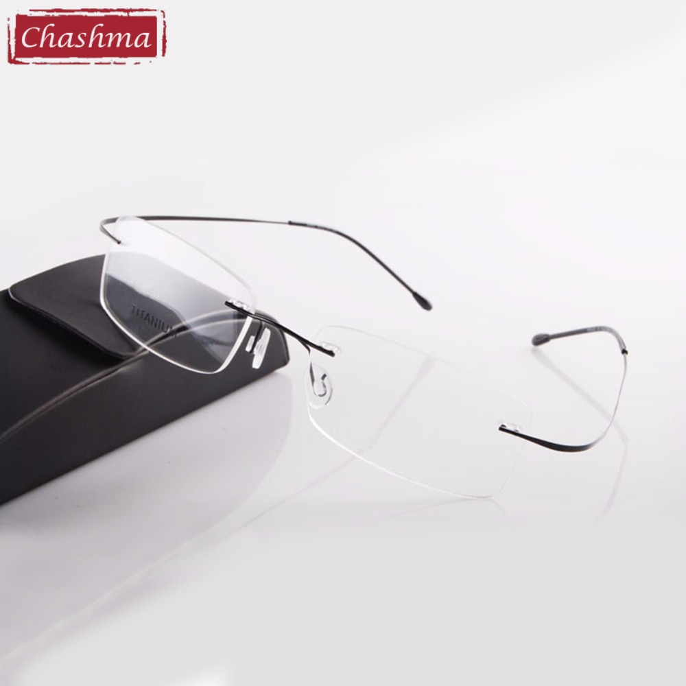 Chashma Hot Sälj Chashma Brand Titanium Rimless Ultra Light Glasses Frame Mode Läs Glasögon Man och Kvinnor med Fodral