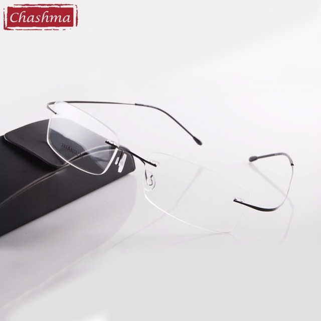 Hot Selling Chashma Brand Titanium Rimless Ultra Light Glasses Frame Reading Glasses with Case