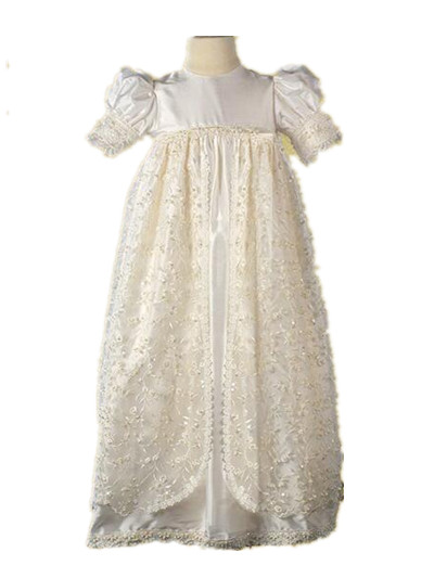 цена  2016 Noble Heirloom Infant Christening Gown Baby Girl Baptism Dress Baby Boy Lace Applique Robe 0-24 month  онлайн в 2017 году