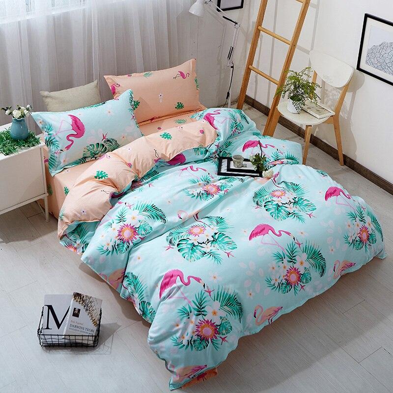 Morden bedding set 4pcs bedding summer green cool AB side bed sheet Green duvet cover set leaf bed linens lemon fashion bed set