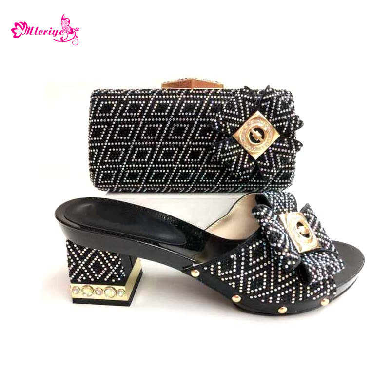 0039 Shoes and Bag Set African Sets black Color Italian Shoes with Matching Bags fashion Women Shoes and Bag fashion women s crossbody bag with rivets and black color design