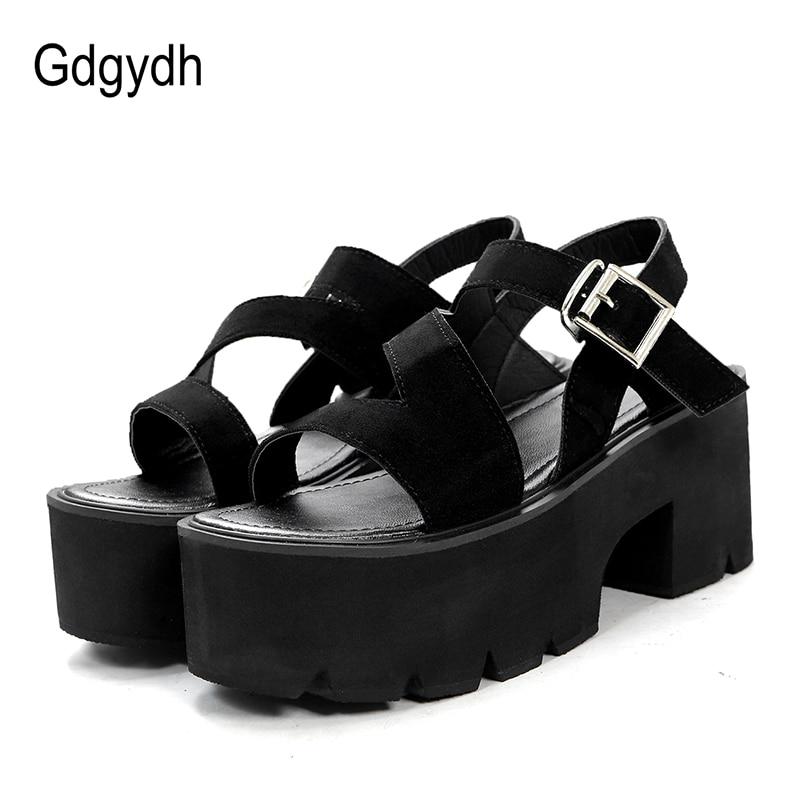 Gdgydh Black Flock sieviešu vasaras kurpes kvadrātveida papēži - Sieviešu apavi