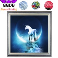 GGDB 5d DIY Full Square Diamond Embroidery Animal Horse Unicorn And Moon Needlework Mosaic Pasted Painting
