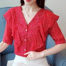 Női ruházat 2018 Új Blúzok póló nyári polka Dot Piros sifon ing póló v-nyakú rövid ujjú női Top Blusas 302f3