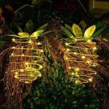 LED パイナップルライト吊り妖精文字列防水屋外ソーラーガーデンパス装飾 25 ソーラーライト