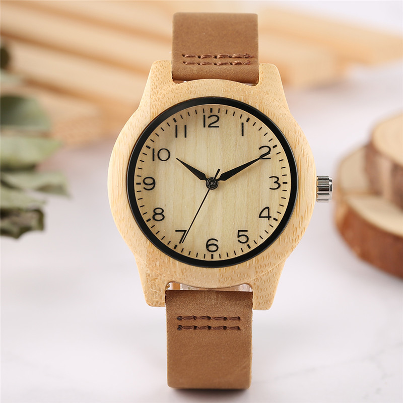 цена на New Style Nature Bamboo Women Watches Creative Arabic Numerals Dial Minimalist Ladies Watch Genuine Leather Band Wood Clock Gift