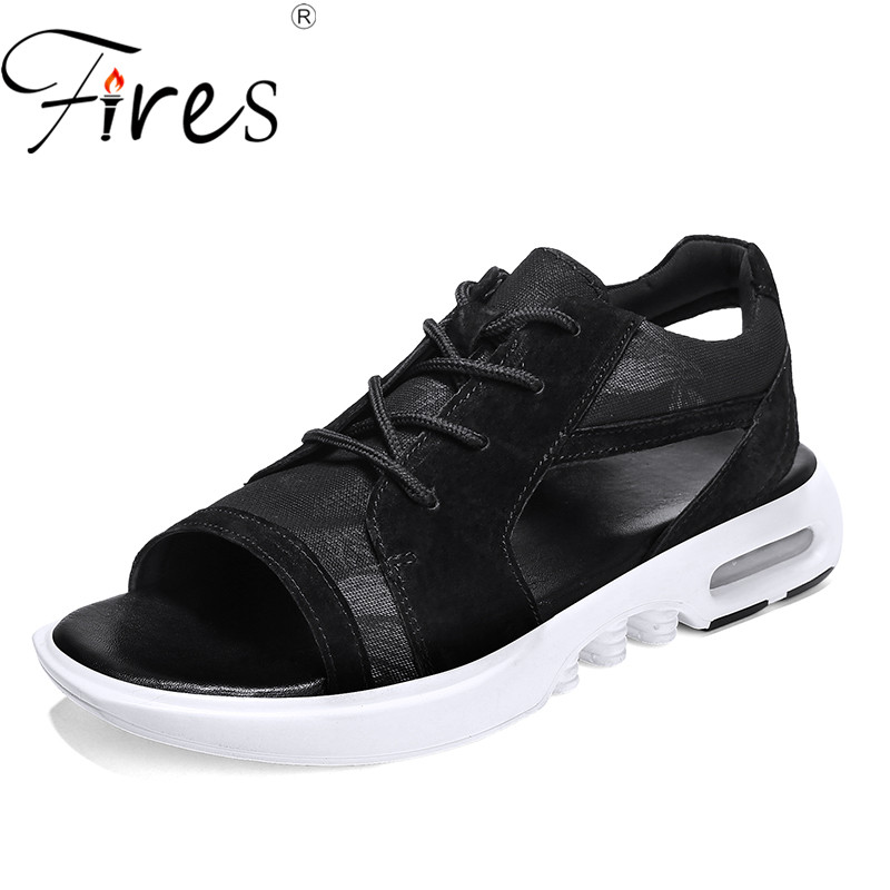 Fires Summer Men Sandals Mesh Lightweight Casual Shoes Outdoor Wearable Beach Shoes Male Comfortable Leisure Sandals Man Shoes