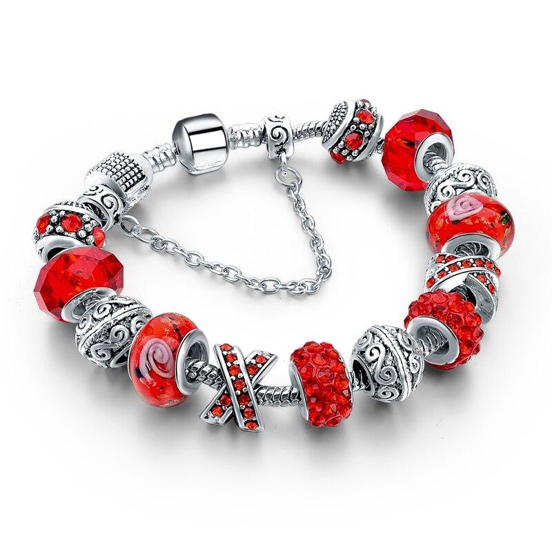 CHICVIE Black Crystal Chain Link Bracelets For Women Female Charm Custom Bracelets & Bangles DIY Silver Color Jewelry SBR160014 25